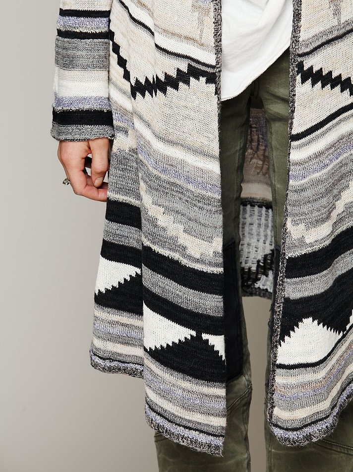 Free People Long Pattern Hooded Cardigan || Free People Clothing Boutique