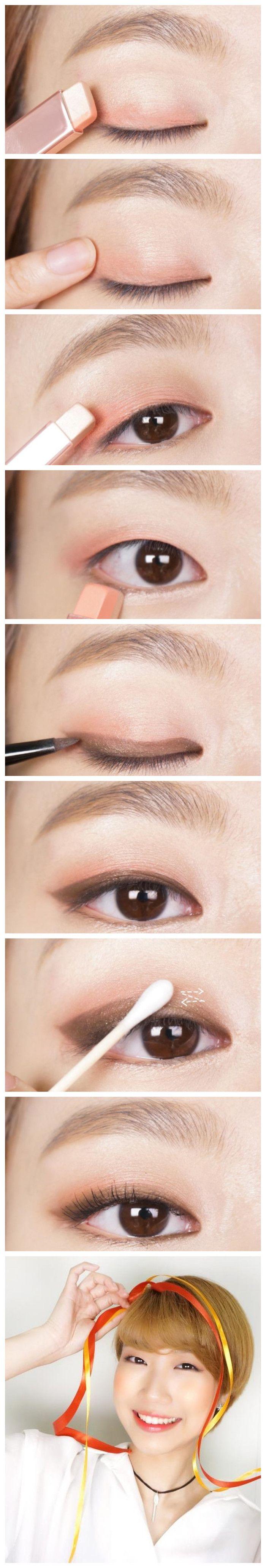 Single eyelid make up #eye make up #idea