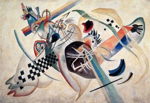Wassily Kandinsky, Composizione su bianco, 1920, olio su tela, San Pietroburgo, Museo di Stato Russo