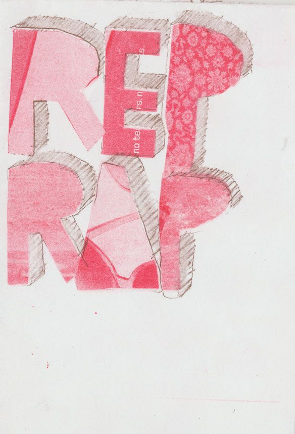 Red and brown zine cover created during a stencil printing workshop. www.rizzeria.com.
