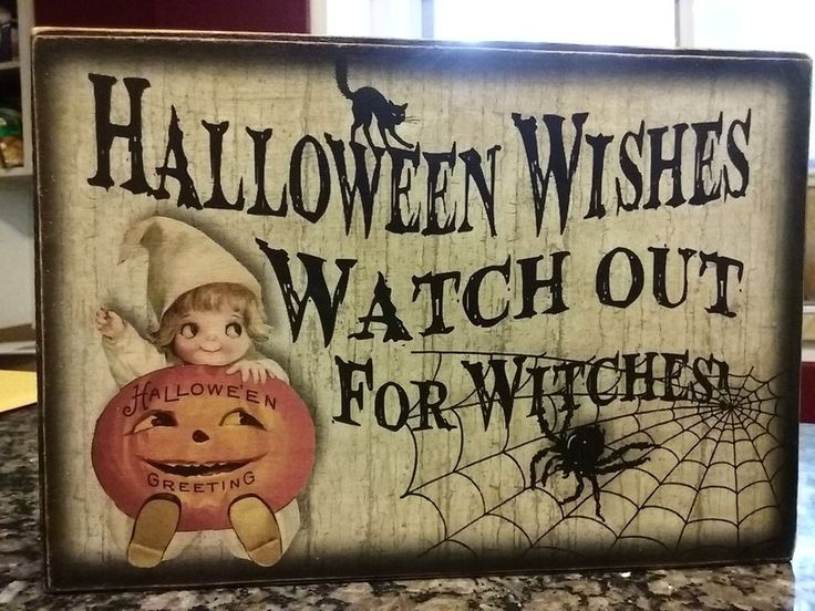 Primitive Halloween Sign Halloween Wishes Watch out for Witches! Pumpkin 1 of 4…