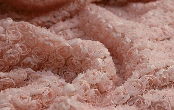 3D Pink Rosette Fabric Photography Cloth Mesh Fabric Wedding Bridal Dress Fabric Alterations DIY Wide Costume Dress Fabric Crafts Supplies. $30.99, via Etsy.