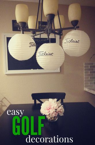 Easy Golf Decorations // White paper lanterns as golf balls! Golf party ideas