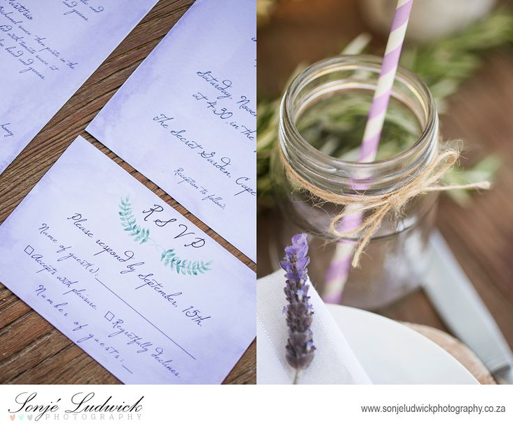 Purple lavender wedding stationary (invite, RSVP and menu).