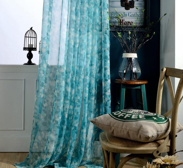 Turquoise Blue Sheer Curtains Leaf Patterns Living Room Transparent Panels Curtains Living Room Living Room Decor Printed Curtains