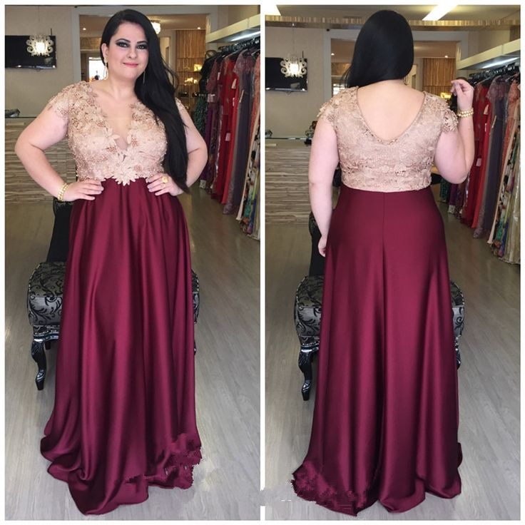 Custom Made V Neck Lace Top Plain Satin Elegant Long: 25+ Best Ideas About Plus Size Prom Dresses On Pinterest