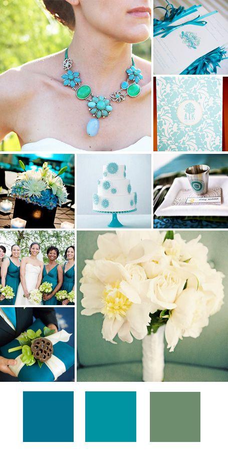 wedding color combinations: turquoise, aqua and mint/green