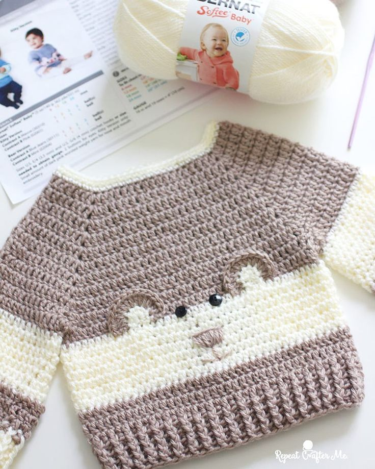 "4,340 Likes, 92 Comments - Sarah Zimmerman (@repeatcrafterme) on Instagram: ""It's so ""beary"" cute!! This Baby Bear Crochet Character Sweater is hot off my hook! I couldn't…"""
