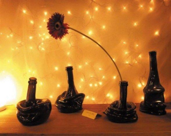 повторное использование стеклянных бутылок-Flor-стол-идея-Upcycling-творческо-расплавлен-ваза
