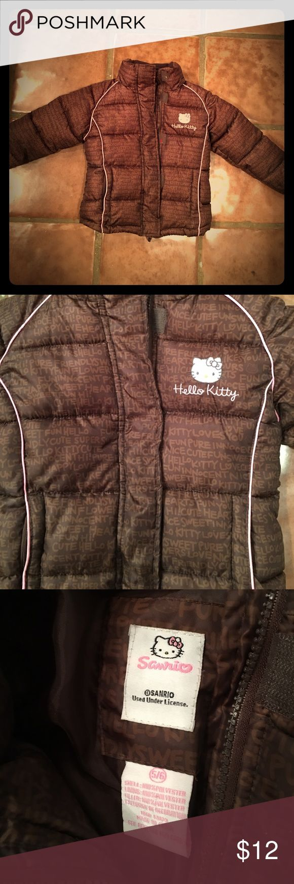 Girls Hello Kitty Winter Puffer Jacket Brown Great condition. Hood is missing. Jackets & Coats Puffers