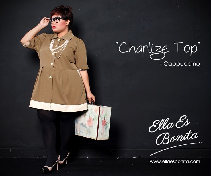 Charlize Top - This vintage tops features high quality woolpeach (body) and synthetic leather (list) which specially designed for sophisticated curvy women originally made by Indonesian Designer & Local Brand: Ella Es Bonita. Available at www.ellaesbonita.com