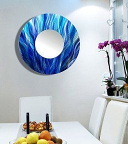 Large Round Blue Abstract Wall Mirror - Painted Modern Metal Wall Art - Home Decor Accent by Jon Allen - Mirror 113