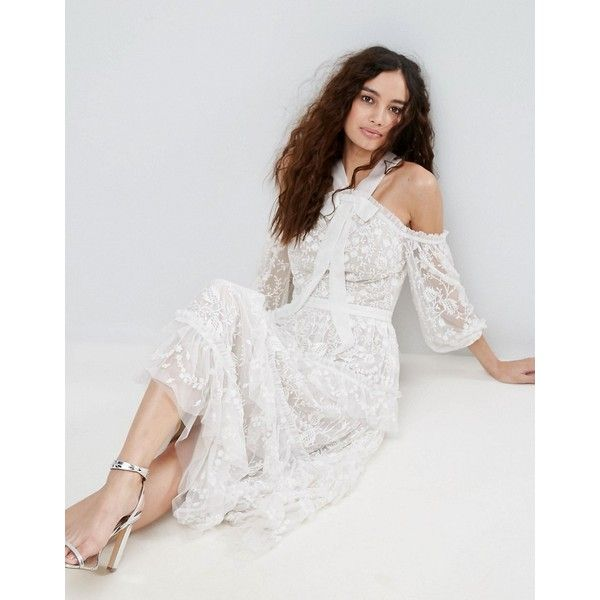 Needle & Thread Primrose Lace Cold Shoulder Dress ($553) ❤ liked on Polyvore featuring dresses, cream, sleeved dresses, embellished cocktail dress, lace sleeve dress, strappy dress and cold shoulder cocktail dress