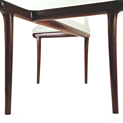 KO Dining Table by Seiji Kuwabara.  Glass topped table with a hand-carved walnut base.  Available at Kozai Modern  $5,900
