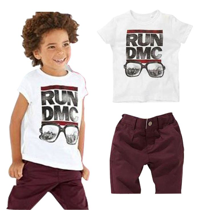 Boys Summer Throwback Run DMC T Shirt and Shorts Set.