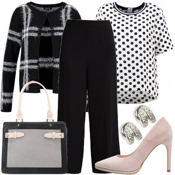 Vi+propongo+un+outfit+mix+&+match+composto+da+t-shirt+bianca+con+pois+neri+abbinata+a+cardigan+in+misto+lana+nero+a+scacchi+e+pantaloni+7/8+neri.+Completano+il+look+le+décolleté+scamosciate+color+rosa,+la+borsa+in+ecopelle+tricolore+e+gli+orecchini+silver.