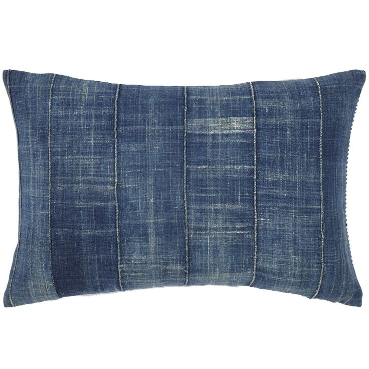 John Robshaw Textiles - Vintage Denim Decorative Pillow - Souk Bolsters - souk