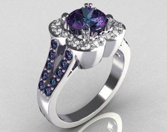 Articoli simili a Cuori classico 14k oro bianco Ct 2,0 crisoberillo Alessandrite diamanti anello di fidanzamento Y445S-14KWGDAL su Etsy