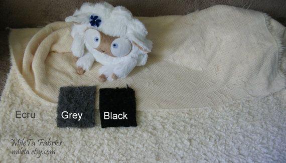 Soft Fake Fur Lamb Fabric Ecru Grey Black by MileTa on Etsy