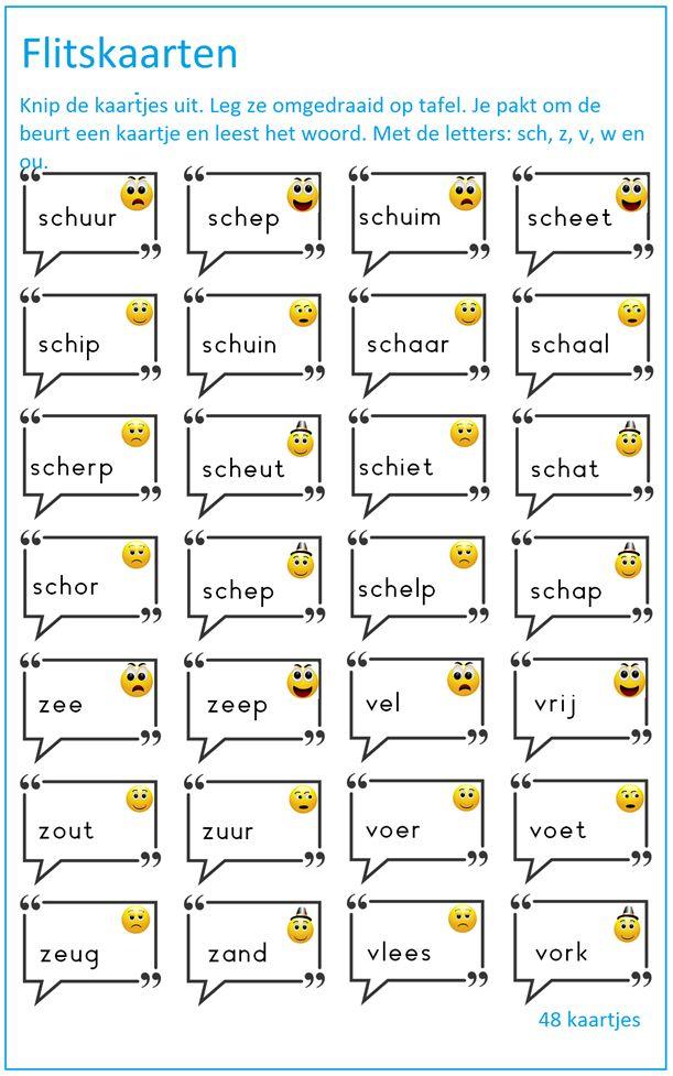 Thema 6 , Lijn 3 flitskaarten met de letters sch, v,w,z en ou. Digibord Onderbouw