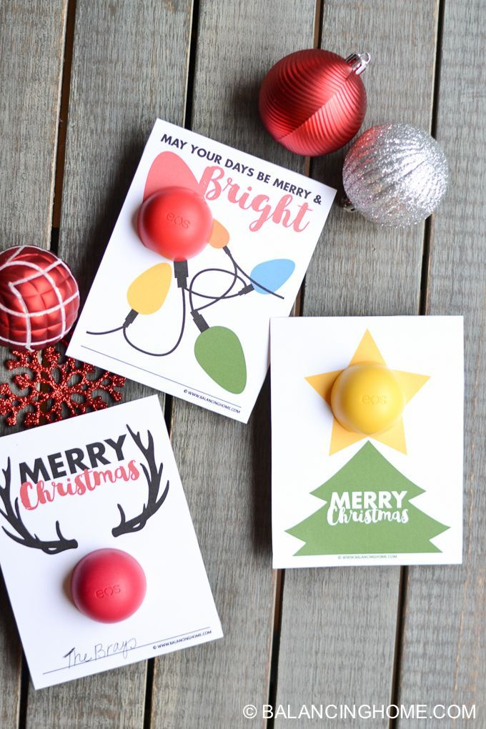 Darling EOS Christmas Lip Balm printables. Great teacher & coworker gift idea!