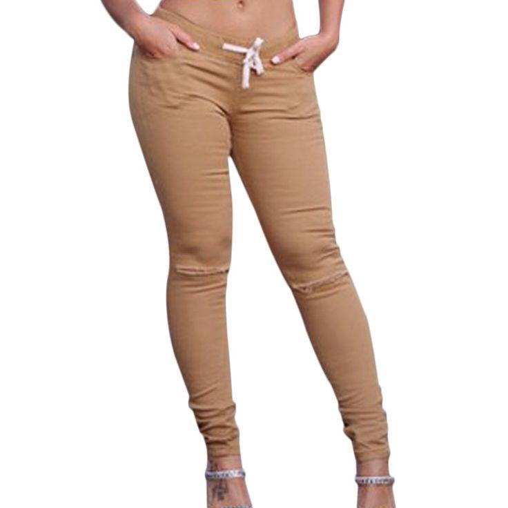 Summer Women's Fashion Broken-hole Stretch Pants Casual Slim Pencil Pants Elasticity Tights Sexy Women Pants