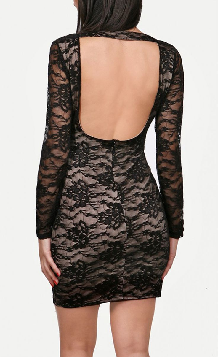 Black Lace Nude Illusion Key-Hole Back Dress