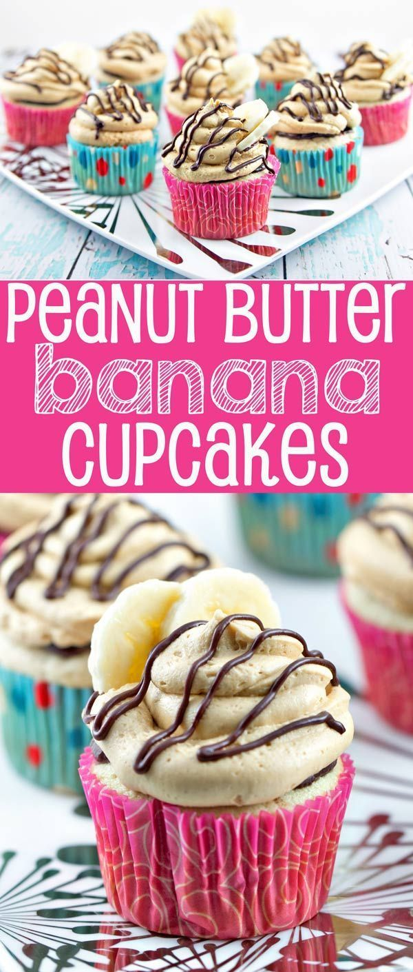 Peanut Butter Banana Cupcakes: Banana cupcakes filled with chocolate ganache and covered with fluffy peanut butter buttercream frosting. {Bunsen Burner Bakery}