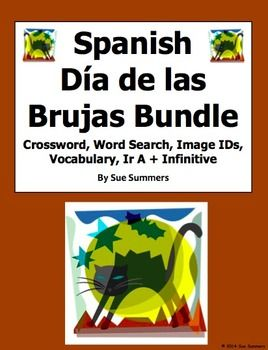 Spanish Halloween 11 Page Bundle by Sue Summers - 2 Puzzles, Vocabulary, Image IDs, Ir A Infinitive