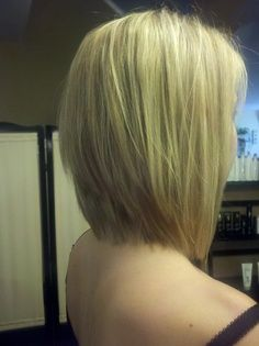 Long Inverted Bob | On my model I did a graduated long bob with extra light blonde ...