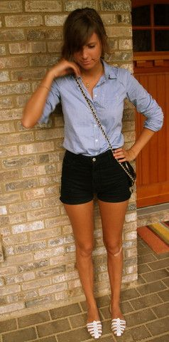 denim button up and black shorts