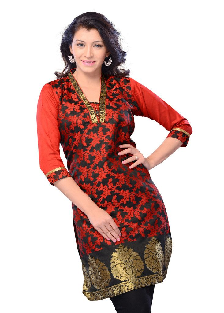 Buy Black Color Jacquard Printed Kurti Online – Fashionic: Indian Ethnic Wear