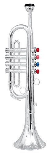 This toy Trumpet with its 4 keys/notes produces real trumpet sound. * Each of the 4 keys have a different note sound. The keys are color coded so children can play songs that are printed on the back of the box. * Made of metallic silver plastic with a shiny silver finish. Measures 16.5 inches long. * Fun to play and encourages creative play in your home orchestra or marching band. * (Placed within the Amazon Associates program) * 09:23 Mar 12 2017
