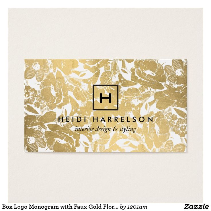 Box Logo Monogram with Faux Gold Floral Pattern Business Card Your initial or business initial is contained in a minimally styled box for a simple logo on this designer business card template. Your name is paired underneath, while a faux gold floral pattern adds visual interest in the background. Inspired by vintage tapestries, this design adds elegance and personality to your business or personal branding. This double-sided card allows ample room on the backside for your contact info. Original