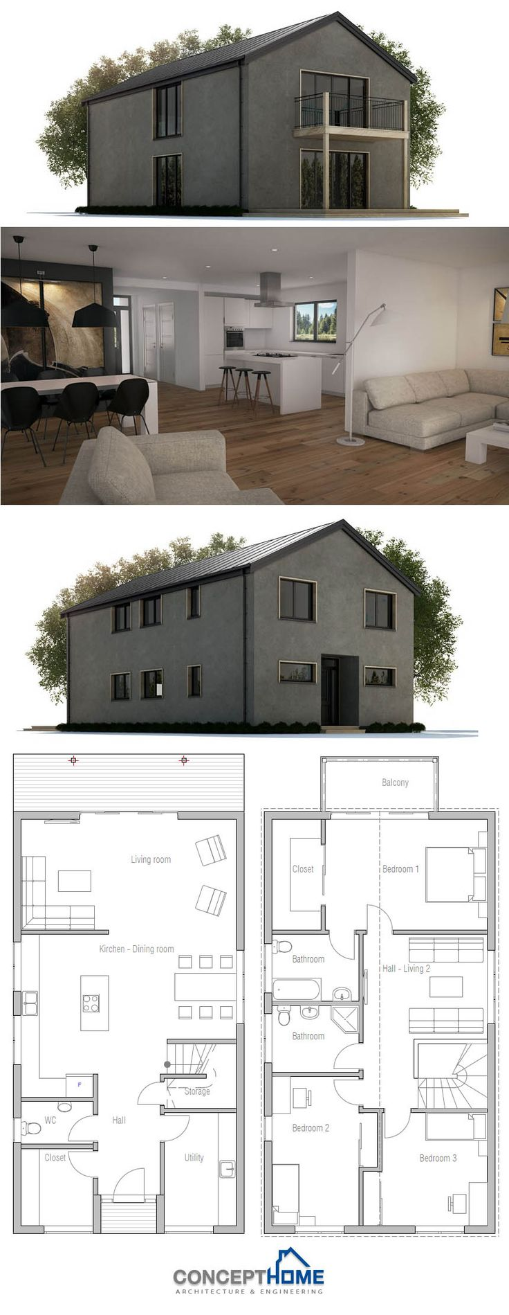 55 best nouvelle construction moderne images on for Plan construction maison