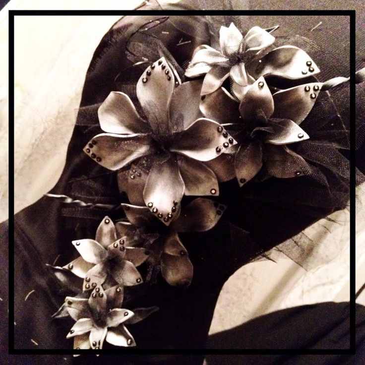 Silver foam flowers on black satin prom dress in almost ready! - www.decaycouture.com