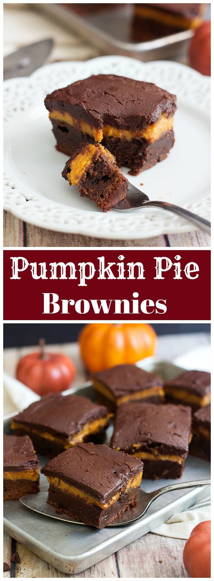 Have the best of both worlds with these Pumpkin Pie Brownies. Gooey brownies topped with pumpkin pie filling and luscious ganache tastes great!
