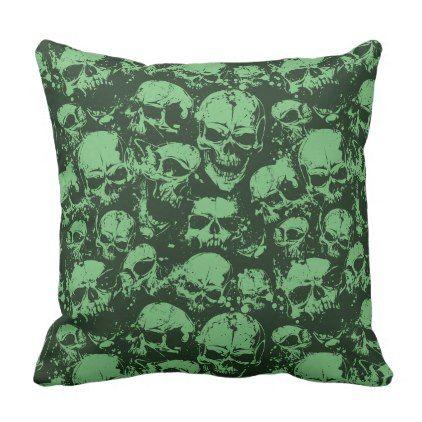 Mess Of Skulls - Model 2 Green Color Throw Pillow - designs custom gift ideas diy