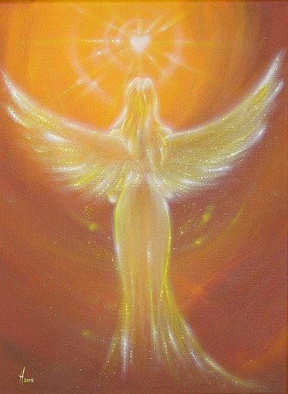 """Beperkte engel kunst foto """"het hart weet het"""", moderne engel schilderen, kunstwerk, ideaal ook voor fotolijst, gift, spirituele, magic, mystic"""