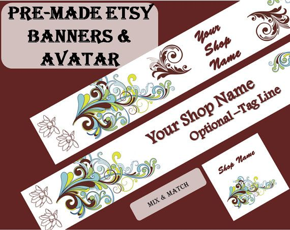 Vintage style pre-made Etsy banner and shop icon by OwlArtShop