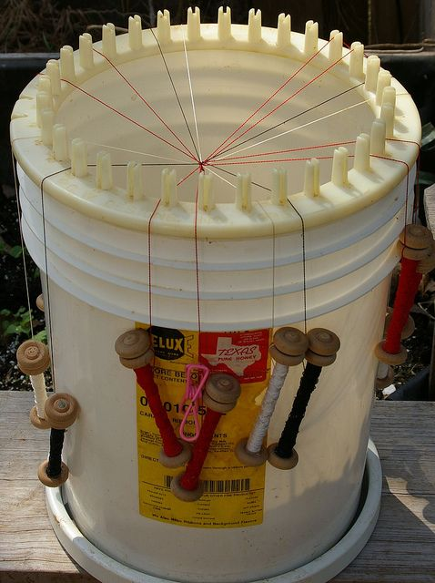 "Japanese ""kumihimo"" braid weaving, using a 5-gallon bucket and circle knitter."