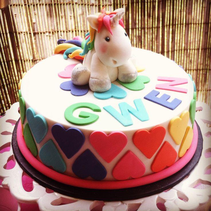 Unicorn And Rainbows 8 Year Old Girls Birthday Cake