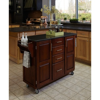@Overstock - This Create-a-Cart is constructed of Asian hardwoods in a cherry finish. Features include a 3/4-inch black granite top, four utility drawers and two doors that open to storage with an adjustable shelf, towel holder and locking rubber casters.   http://www.overstock.com/Home-Garden/Cherry-Finish-Black-Granite-Top-Create-a-Cart/6603227/product.html?CID=214117 $567.99