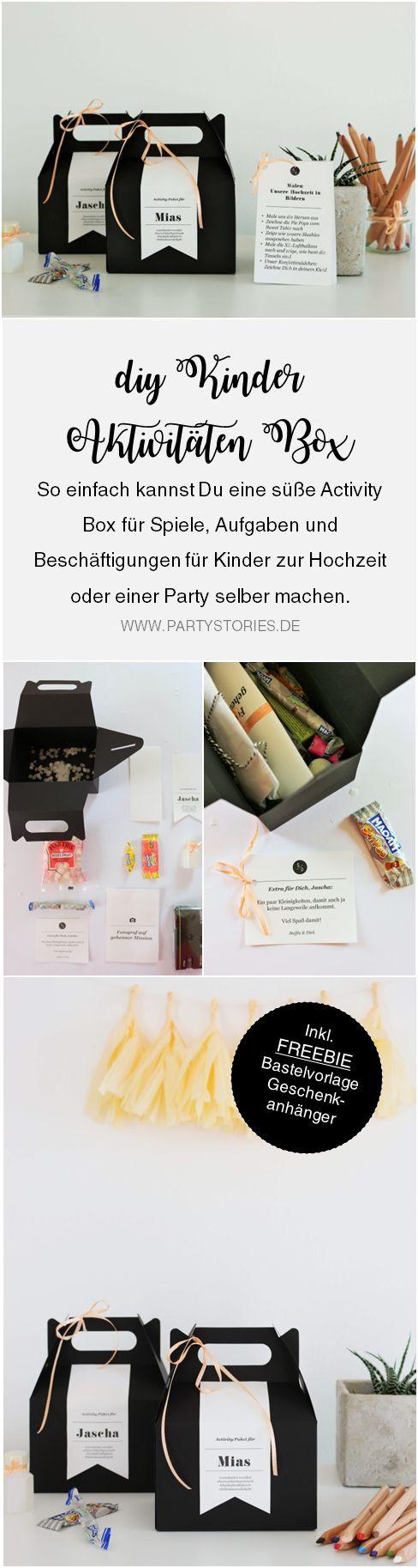 So einfach kannst Du eine DIY Kinder Aktivitäten und Spiele Box als Idee für die Hochzeit oder eine Party selber basteln. Inklusive Freebie Bastelvorlage für zum Ausdrucken als Geschenkanhänger; gefunden auf www.partystories.de