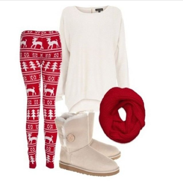 Christmas leggings + red sweater + boots