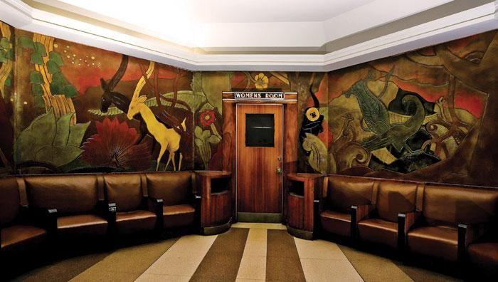 jungle motif mural by pierre bourdelle at union terminal in cincinnati ohio street art. Black Bedroom Furniture Sets. Home Design Ideas