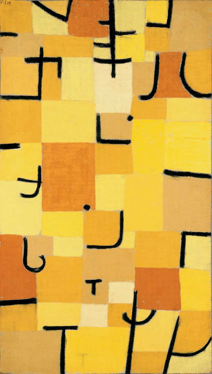 """""""Characters in Yellow,"""" 1937, Paul Klee. Dimensions: 83.5 x 50.3 cm."""