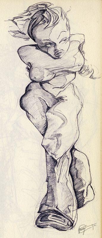 Ballpoint illustratie uit Dummy 1. By Hilda Groenesteyn / studio Hille