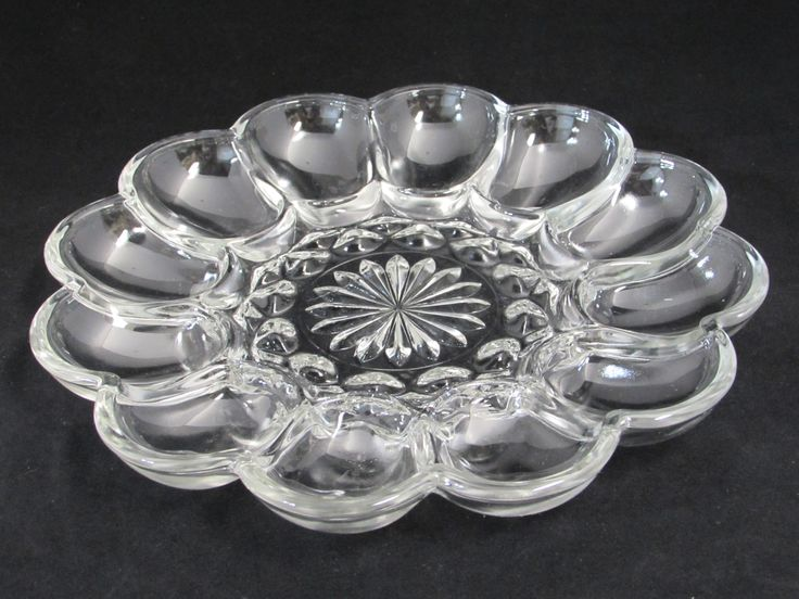 Anchor Hocking Fairfield Egg Plate Clear Glass Deviled Egg Tray - Etagere Antiques, Vintage, Collectibles