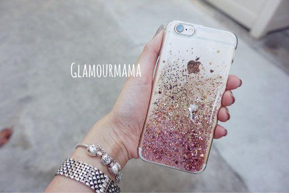 Rose gouden zoete hart - glitter acryl iphone 6s case, sparkle case voor iphone…